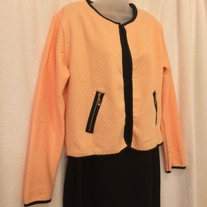Jackets & Blazers - NWOT Super Cute!! Peach jacket with black trim